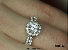 BEAUTIFUL 5.5MM ROUND CZ STERLING SILVER HALO ENGAGEMENT RING WEDDING RING SET