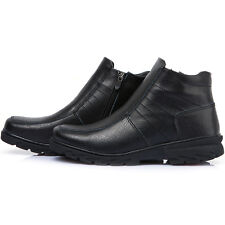 New Black Mens Winter Comfort Zip Ankle Boots Snow Warm Leather Shoes