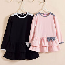 Super Vogue Kids Toddlers Girls Clothing Bow Long Sleeve Princess Dress Sz 2-7Y