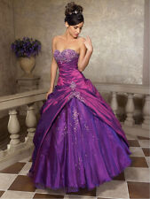 New Stock Purple Off Shoulder Prom Dress Embroidered Quinceanera Dresses