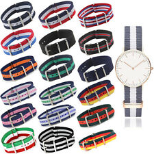 18/20/22mm Military Nylon Wrist Watch Band Strap f/ Watch Stainless Steel Buckle