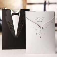 White Bride and Black Groom Wedding Invitations Cards with Envelopes, Seals