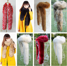 Woman snug soft Faux Fox Fur Collar Raccoon Fur Scarf Shawl Collar Long Scarves