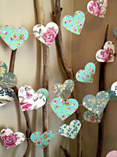 Paper Heart Garland Vintage Shabby Chic Roses Wedding Decor Baby Shower High Tea