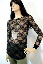 VOCAL Sheer Layer Top Blouse S-M-L-XL NEW Made in USA Nylon Spandex