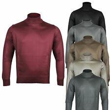 Mens Smart Funnel Turtle Neck Casual Lightweight Pullover Jumpers