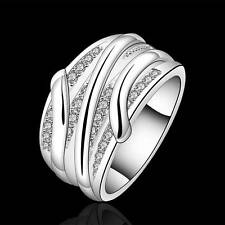 Wholesale Luxury womens Fashion Jewelry 925 Silver Rings Xmas Gift Size 7 8