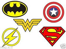 5 SUPERHEROES LOGO GREAT FABRIC T-SHIRT IRON ON TRANSFERS LIGHT AND DARK COLORS