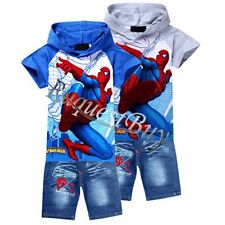 2PCs Boys Girls Kids Spiderman Suit Hooded Top T Shirt+Shorts Jeans Pants Outfit
