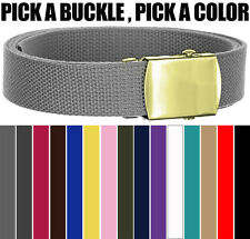 Plain Canvas Military Web Belt Solid Gold Brass Metal Roller Buckle Mens Womens