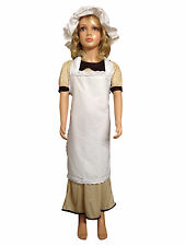 Victorian Style Mop Cap Apron Kids 80's Fancy Dress Book Week Party Costume Girl