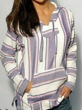 Girls Mexican Baja Hoodie Sweater Pullover Lavender Purple White