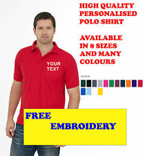 NEW PERSONALISED EMBROIDERED POLO SHIRTS, WORKWEAR, CUSTOMISED, FREE EMB UNIFORM