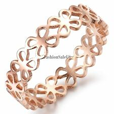 9mm Rose Gold Tone Women's Ring Stainless Steel Infinity Four-leaf clover Band