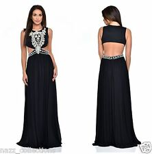 BLACK PEARL CRYSTAL DIAMANTE CUT OUT WAIST GRECIAN MAXI GOWN DRESS 8-16