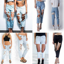 Ladies Ripped Knee sexy Skinny Jeans Womens High Waisted Jeggings 6 8 10 12 14