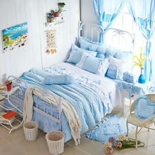 New Blue Polka Dot Girls Lace Ruffle Bowite Bedding Sets