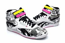 Reebok Women Shoes Freestyle HI top Punk 709943 White Black