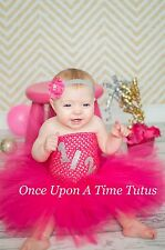 Hot Pink Silver Half Birthday Glitter Number 1/2 Dress 12 18 3T Age Custom 6 mo
