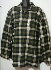 NEW! Mens Carhartt BIG & TALL Flannel Cotton Green Original Fit Shirt Sz 3XL-4XL
