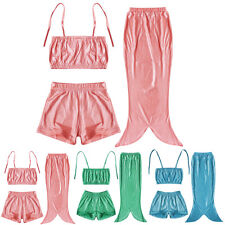 Girl Little Mermaid Tail Swimmable Swimming Princess Costume Swimsuit Bikini Set