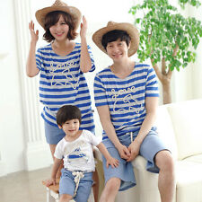 New Fashion Mother And Family Pack Summer Blue Striped T-Shirts For Dad And Kids