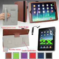 For Apple iPad Air 2nd SMART PU Case Stand Cover w/ Hand Strap+2 Films+Stylus