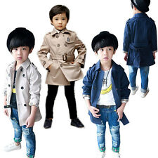 1 Boys kids Fashion Double Breasted Belted Long Trench Coat Jacket Parka 2-8Y