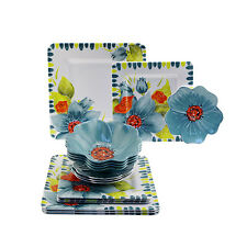 Laurie Gates Floral Embossed 16-pc Melamine Dinnerware Set, Service for 4