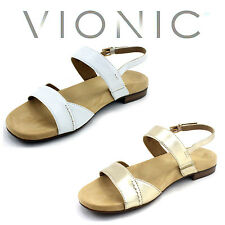 Womens Leather Orthopedic Sandals Flat Vionic Wedge Shoes White Open Toe Gold