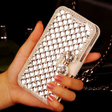 Bling Crystal Rhinestone White Wallet PU Leather Bow Case For Samsung Galaxy