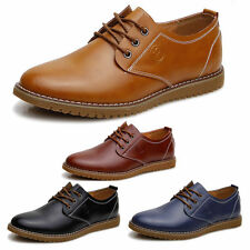 2015 New Mens Casual Classic Genuine Leather Oxfords Flats Wing Tip Shoes Lace
