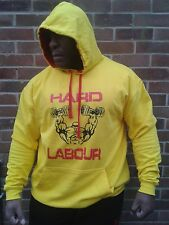 BODYBUILDING HOODY QUALITY HARD LABOUR CLOTHING YELLOW MUSCLE TRAINING GYM WEAR