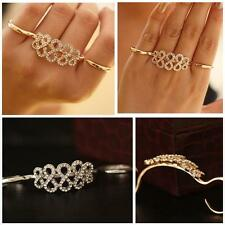 Double Rings Refers Opening Personalized Ring Crystal Flower Korean Fashion New