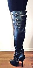 Black Thigh High Over Knee Fetish Drag Queen Wide Shaft Calf Boots size 7 8 9 10