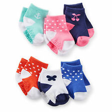 Carters Newborn 3 12 24 Months 6-pk Pattern Socks Baby Girl Cherry Anchor Dotted