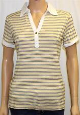 Tommy Hilfiger Classic Polo Shirt Womens Yellow Striped 100% Cotton New NWT