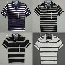 TOMMY HILFIGER  NEW MENS COTTON PIQUE STRIPE  POLO RUGBY SHIRT,CUSTOM FIT,NWT