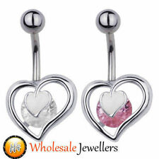 316LSurgical Steel Gem Heart Belly Button Navel Bar Ring Body Piercing Jewellery