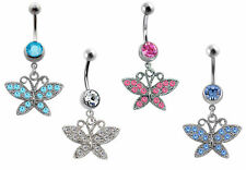 1pc New Steel Gem Crystal Butterfly Belly Button Navel Bar Ring Body Piercing