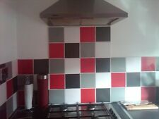 "KITCHEN TILE STICKERS 6"" X 6"" EASY DIY RED,BLACK,LIGHT GREY SLATE GREY"