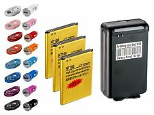 3 x 4200mAh High Capacity Batteries + Chargers & Data Cable For Galaxy Note 2