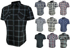Mens Plaid Short Sleeve Shirt Fitted Top Casual Button Down Flannel Slim Fit New