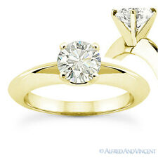 Round Cut Moissanite 14k Yellow Gold Knife Edge 4Prong Solitaire Engagement Ring