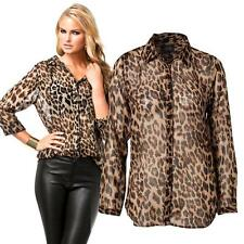 Chic Women's Chiffon Long Sleeves Leopard Print T-shirt Loose Casual Blouse Tops