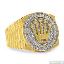 18K Gold Plated Crown Presidential Mens Medallion Ring