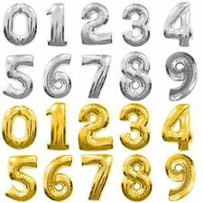 """16"""" GOLD SILVER Foil Helium Number Balloons Party Birthday Wedding Decoration"""