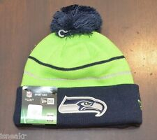 NEW ERA NFL SEATTLE SEAHAWKS GREEN NAVY BLUE CUFF KNIT BEANIE HAT ONE SIZE ADULT