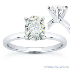 Oval Brilliant Cut Moissanite 14k White Gold 4-Prong Solitaire Engagement Ring