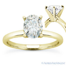Oval Brilliant Cut Moissanite 14k Yellow Gold 4-Prong Solitaire Engagement Ring
